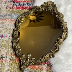 Vintage Victorian Style Brass Oval Mirror Ornate